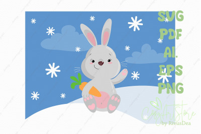 Cute bunny SVG download, bunny PNG, Grey rabbit with carrot Christmas