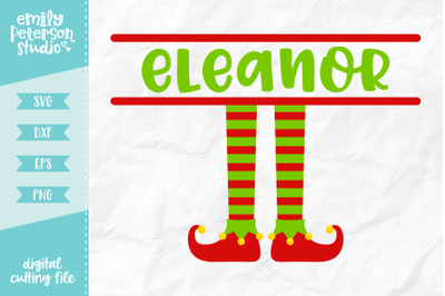 Elf Feet Monogram SVG DXF