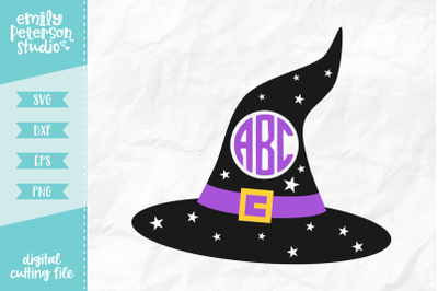 Witch Hat Monogram SVG DXF