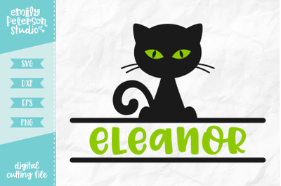 Black Cat Monogram SVG DXF