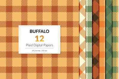 Fall Buffalo Plaid Digital Paper, Autumn Plaid Backgrounds