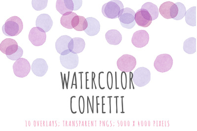 Watercolor confetti border overlays