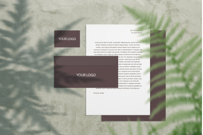 Stationery branding  mockup with fern