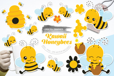 Kawaii Honeybees graphic and illustration