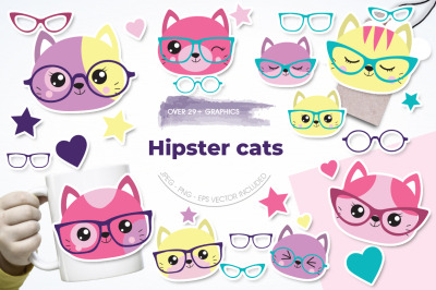 Hipsters Cats graphic and illustration