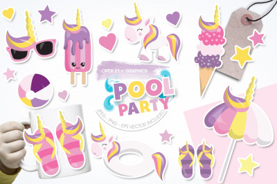 Pool Party graphic and illustration