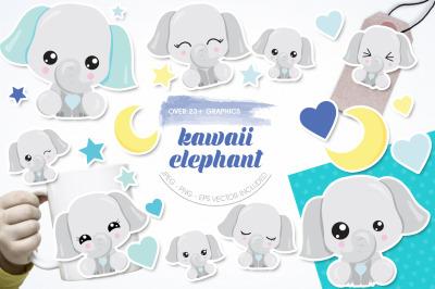 Kawaii Elephant graphic and illustration