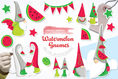 Watermelon Gnomes graphic and illustration