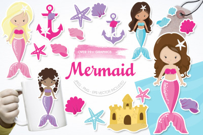 Mermaid graphic and illustration