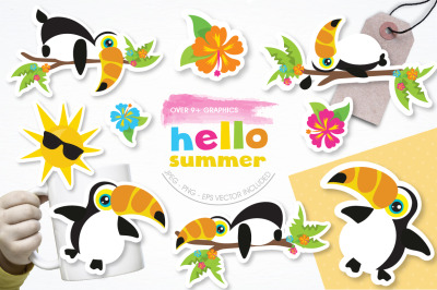 Hello Summer graphic and illustration