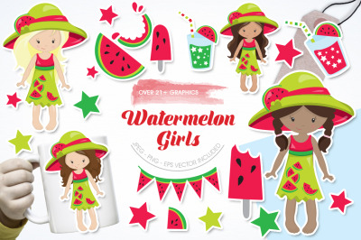 Watermelon Girls graphic and illustration