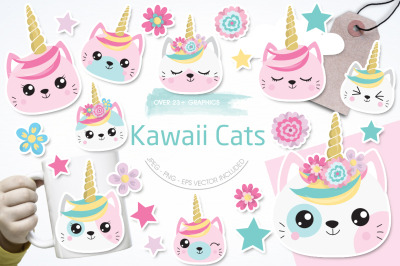 Kawaii Cats graphic and illustration