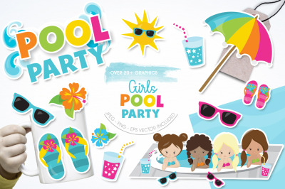 Girls Pool Party graphic and illustration