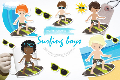 Surfing Boys graphic and illustration