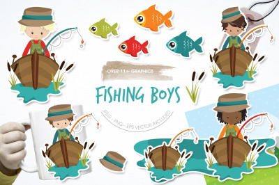 Fishing Boys graphic and illustration