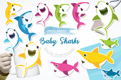 Baby Sharks graphic and illustration