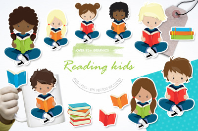 Reading Kids graphic and illustration