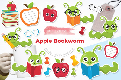 Apple Bookworm graphic and illustration