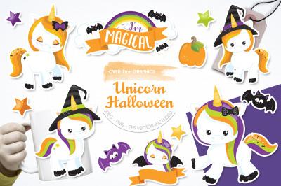 Halloween Unicorn graphic and illustration