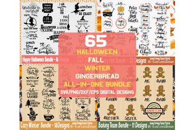 65 Halloween Fall Winter Gingerbread Holiday Bundle