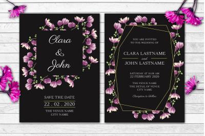 Purple Floral Wedding Invitation Set