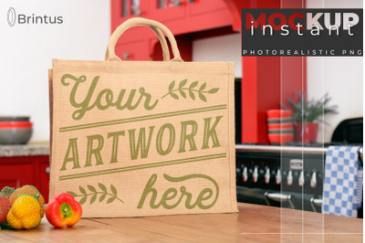 Instant mockup Burlap shopping-bag, tote bag mock-up, jute bag