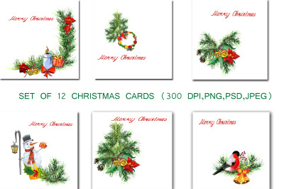 Set of greeting Christmas cards