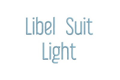 Libel Suit Lightt 15 sizes embroidery font (RLA)