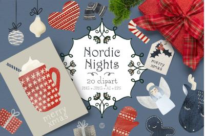 Christmas clipart, winter clipart, Holiday clipart, Scandinavian