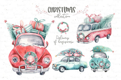 Watercolor Christmas cars collection