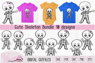 Cute skeleton bundle, boy skeleton, girl skeleton, dabbing skeleton, H