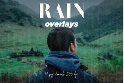 Rain Overlays Clipart, Falling Rain, Photoshop Overlays,