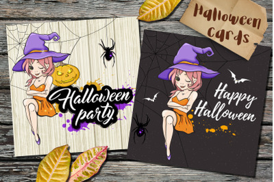 Halloween Cards with Little Witch