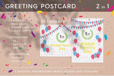 January 01 - Global Family Day. Greeting Postcard.