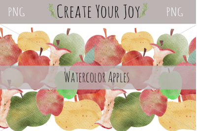 Watercolor Apples | 9 PNG with Seamless Pattern