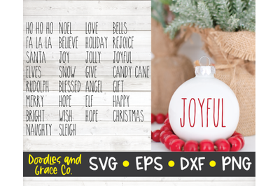 Rustic Christmas Words - Christmas SVG Cut File - SVG, DXF, EPS, PNG