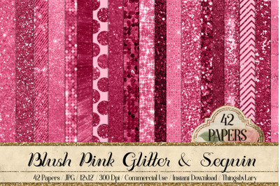 42 Blush Pink Princess Baby Glitter Sequin Digital Papers