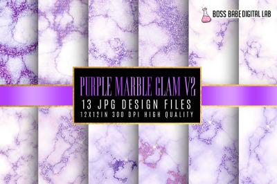 Purple Glam Marble Digital Papers Volume 2