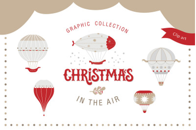 Christmas in the air. Graphic set