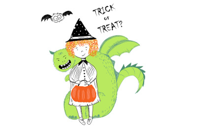 Girl witch with pumpkin and monster