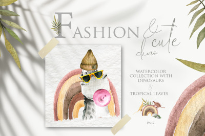 Fashion and cute dino. Watercolor collection