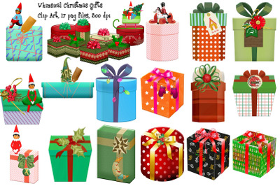Whimsical Christmas Gifts Clip Art