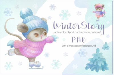 Winter story. Cute little mice. Watercolor clipart and patterns