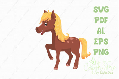 Horse SVG download, baby horse PNG illustration, Cute baby animal Cut