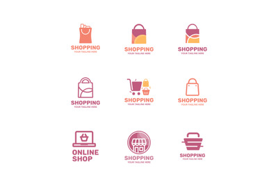 Online shop, store, shopping logo vector bundle collection