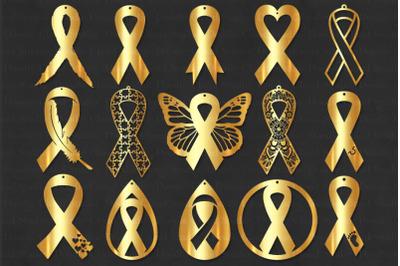 Cancer Earrings SVG, Awareness Ribbon Earrings SVG Files