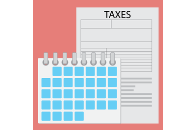 Time of payment tax. Calendar and paper document