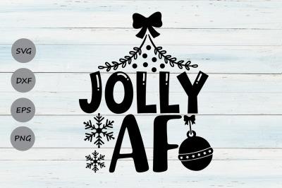 Jolly AF Svg, Christmas Svg, Funny Christmas Svg, Merry Christmas Svg.