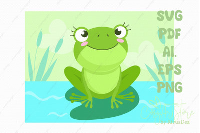 Frog SVG background download, river background PNG illustration, Cute