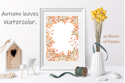 Autumn leaves. Watercolor frames